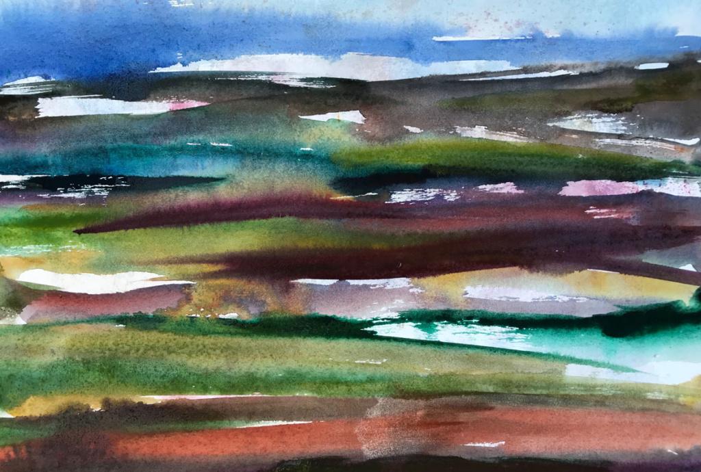2018, watercolor, landscape